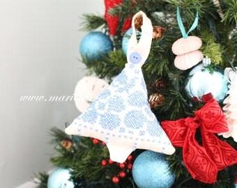 Vintage Textile, Handmade Stuffed Christmas Tree Ornament, Cross Stitch Pattern, Secret Santa, Stocking Stuffer Gift Inspiration
