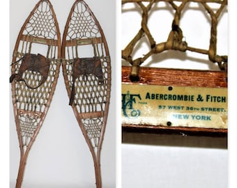Antique Pair of 1930s Abercrombie & Fitch Wooden Snowshoes 9x36