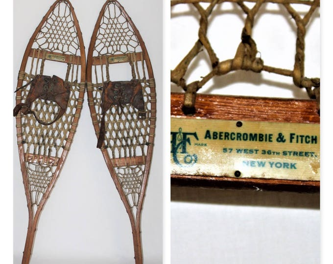 Abercrombie & Fitch Antique Pair of 1930s Wood Snowshoes 9x36