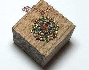Beadwoven Pendant Copper Beaded Pendant Circle Bead Pendant Bead Crystal Pendant Green Beaded Pendant Seed Bead Pendant Crystal Disk Pendan