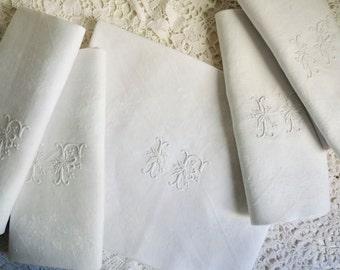 Set 1a: Vintage French DAMASK NAPKINS, Monogrammed I F, Set of 5 Ivory White Linen Napkins, Wedding Linen. French Table Linen.