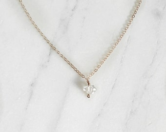 Simple Herkimer Diamond Necklace // Herkimer Diamond Necklace // Simple Diamond Necklace