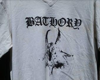 BATHORY Black Metal T-SHIRT - One Of A Kind White & Silver VINTAGE