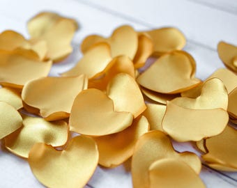 Heart shaped ANTIQUE GOLD rose petals, artificial satin rose petals - for wedding aisle, basket, tables, ready to ship
