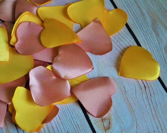 Heart shaped CAFE CREME and GOLD colored satin rose petals - for  wedding aisle, anniversary, yellow and pink flower petals, made to order