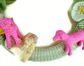 PINK Dog Lovers Wreath Green & Pink Knitted Funtime Wreath
