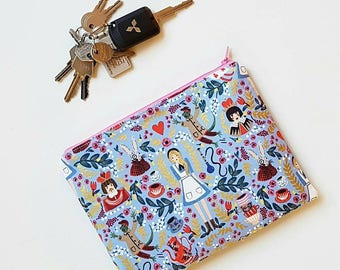 Alice in Wonderland inspired purse periwinkle blue