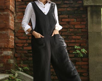 Black Linen Overall, Linen Halter Pants, Black Suspender Overall Pedal Pushers Cute Romper Everday Summer Outfit For Women