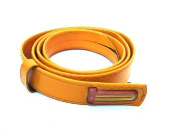 Vintage yellow leatherette belt Woman Artificial leather belt Jeans belt