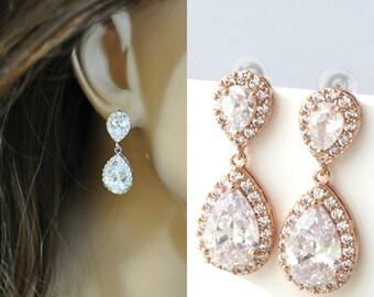 Gold Crystal Teardrop Earrings, Crystal Bridal Drop Earrings, Bridal Jewelry, Bridesmaid Earrings KAYO