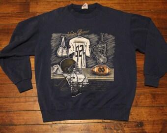 vintage Notre Dame sweatshirt lockerroom NCAA collegiate march madness sweater shirt Large