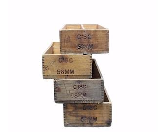 Vintage Industrial Wood Ammo Trays