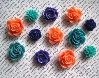 Resin Flowers, 12 pcs, Cabochon Flowers, Coral, Teal and Dark Purple, Brights, Resin Roses, Dahlias, Perfect for DIY Jewelry Projects