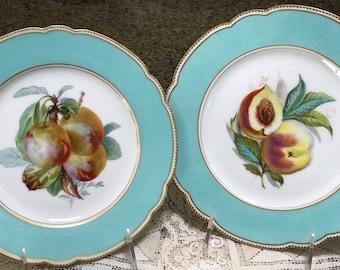 Antique Limoges Plates/Pair Display Plates/Lerosey Rue A La Paix/Paris/Turquoise Border/Scalloped Edge/Hand Painted Fruit/Wedding Gift