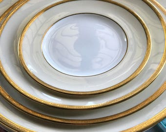 Antique Dinnerware Set/Service for 10/Coalport/1800s/22 KT Etched Gold Trim/Cream Colored Border/Wedding China/Classic Design/Fancy Dishes