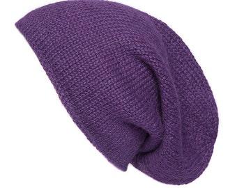 Purple Alpaca Slouchy beanie, hand knitted, purple, 8 colours