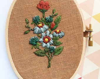 Floral Embroidery Hoop Art, Boho Gift for Her, Retro Home Decor, Wildflower Bouquet, Hand Sewn Needlecraft, Brown Linen, Oval Frame