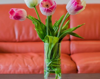 Large Real Touch Pink and White Tulips in Cylinder Glass Vase Faux Artificial Arrangement for Home Decor