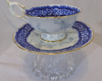 Blue & White with Gold Trim Tea Cup Tea Light Holder