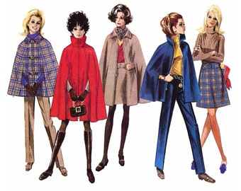 """1968 Cape, Collar, Trim Options, Zipper Close Option, For Even Plaids, Straight  Dart-fitted Trousers, A-line Skirt Simplicity 7866 Bust 36"""""""