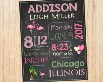 Flamingo Birth Announcement Print. PRINTABLE new baby flamingo nursery art custom. flamingo birth stats chalkboard sign. new baby gift