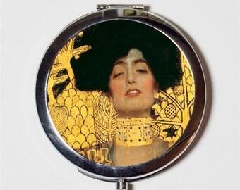 Judith Gustav Klimt Compact Mirror - Classic Fine Art Painting - Make Up Pocket Mirror for Cosmetics
