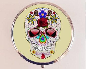 Sugar Skull Pill Box Case Pillbox Holder Trinket Box Day of the Dead Dia De Los Muertes Mexican Goth