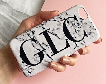 Monogram Marble print phone case - large initials - iPhone 7, iPhone 7 PLUS, iPhone 6/6s, iPhone 6/6s PLUS, Samsung Galaxy S6 Edge, Marbled