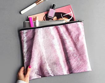Blush pink crushed velvet XL Portfolio clutch bag - Large waterproof wash bag, travel bag, velvet print, rose pink velvet, dusty pink