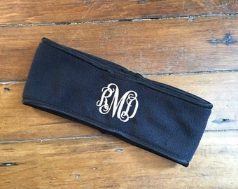 PERSONALIZED FLEECE HEADBAND - Black Headband - Teacher Gifts - Christmas Gifts - Holiday Gifts - Monogrammed Scarf - Fleece Scarf