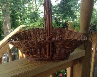 Woven Reed Gathering Basket | Hippie Boho Decor | Handmade Basket | Oak Bottom | Bent Wood Handle | Vintage Flower Basket