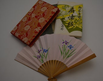 Vintage Japanese pouch, fan and kaishi papers, orange/gold brocade fukusa basami