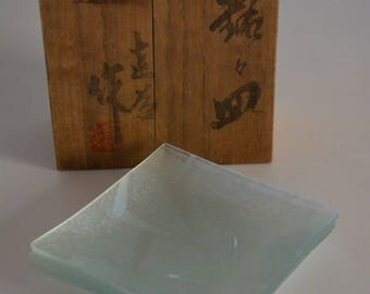 Set of five glass small plates, vintage Japanese mei-mei zara dishes
