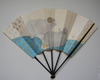 Decorative fan, bamboo and paper card, Japanese 'ohgi' sensu, made in Kyoto #5