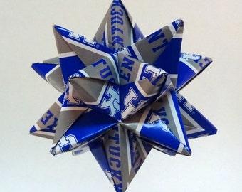 Medium Origami Star Made From Licensed University of Kentucky Wildcats NCAA Paper, Kentucky Ornament, UK Wildcats Decoration