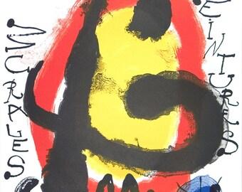 Joan Miro-Peintures Murales-1961 Lithograph