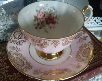Vintage Paragon  Pink and Gold Fine Bone China Tea Cup & Saucer, Collectibles