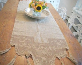Vintage deep oatmeal lace crochet runner tobacco colored linen vintage dresser scarf french style lace table runner shabby chic burlap color
