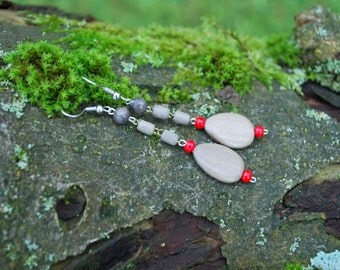 White Hornbeam Earrings, Nature Eco Friendly Gray Grey Earrings, Woodland Rustic Boho Earrings, Wooden Drops Earrings, Brown Red Earrings