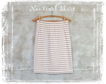 Vintage Nautical Skirt, Blue Stripe Skirt, 1980s Skirt, Summer Skirt, Short Skirt, Cotton Skirt, Small, Blue and White Stripe