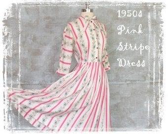1950s Dress, Floral Cotton Dress, Pink Stripe Dress, Fitted Waist Dress, Dolman Sleeve, Neck Bow Dress, Small, Day Dress