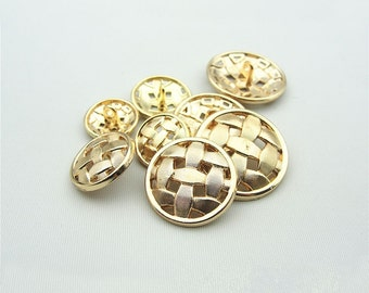 6 pcs 0.59~0.98 inch Fashion Gold Hollow Rattan Metal Shank Buttons for Suits Coats