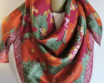 """FLORAL silk scarf, Elaine Gold scarf, vintage silk scarf, carre, large square scarf, 34"""",  autumn scarves, fall silk square, fall fashion"""