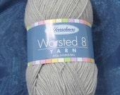 Yarn destash  – 8 ounces – medium gray yarn – Herrschner's 4 ply Worsted Yarn
