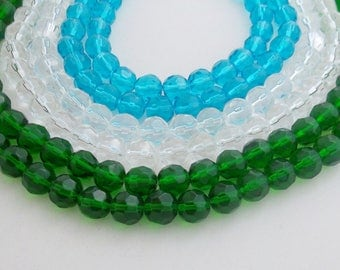 2-strands, 10mm Round faceted crystal beads,Dark Green, Cyan or Clear*. Free Shipping