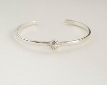 Tiny sun cuff bracelet - sterling bracelet  - sunburst cuff bracelet - spring cuff bracelet - 925 solid sterling silver bracelet