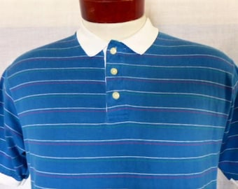 vintage 80's Gant The Rugger teal blue polo shirt white green pink horizontal pin stripe white contrast color collar cuff made in usa Large