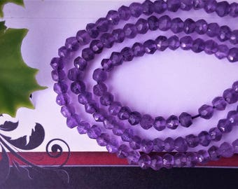 Natural Amethyst faceted rondelle beads 3.5-4 mm ,Grade AA, 13 inch strand