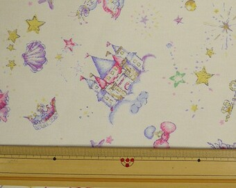 Classical and Modern Japanese Fabric  / Cute Things Oxford Cream Color Fabric  -  50cm x 110cm