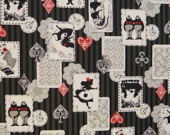 Fat Quarter Alice In Wonderland Black Grey Stripe Cotton Linen Quilting Fabric